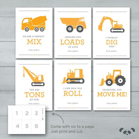 Construction Valentines    Digger Dump Truck by PandafunkCreations