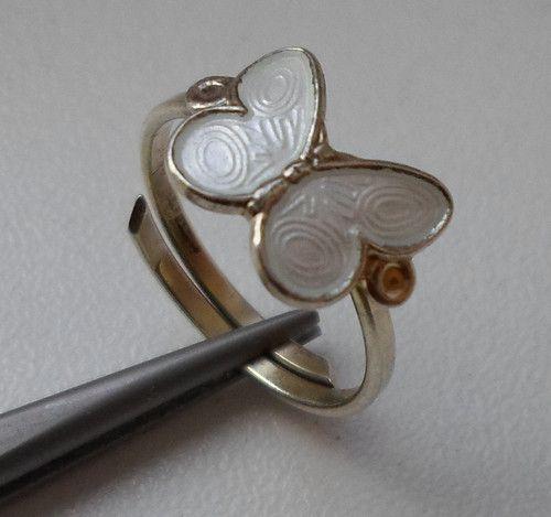Norwegian Arne Nordlie Sterling 925 White Enamel Butterfly Women's Ring | eBay