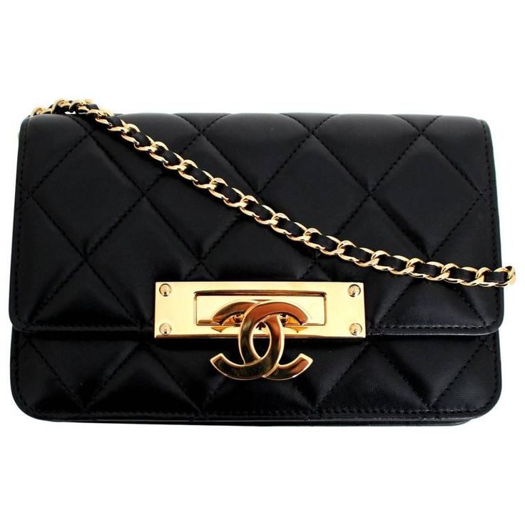 Chanel Black Leather Golden Class Wallet on a Chain- WOC 2016