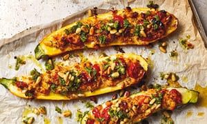 Yotam Ottolenghi's stuffed courgettes with oregano and pine nut salsa: 'The sort of cooking that comforts me.'