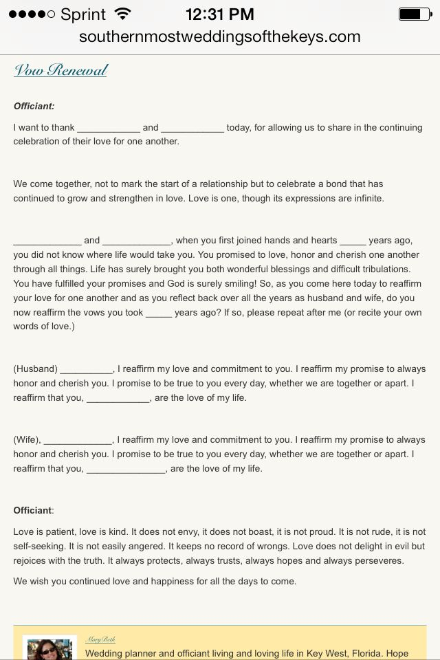 Vow renewal ceremony wording. Change out vow exchange to match our first wedding...
