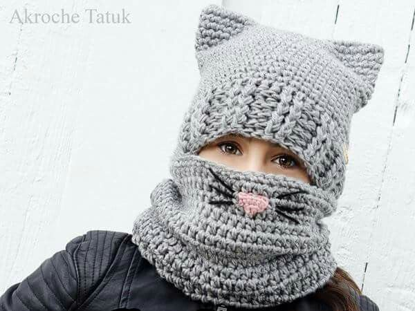 Kitten hat and scarf