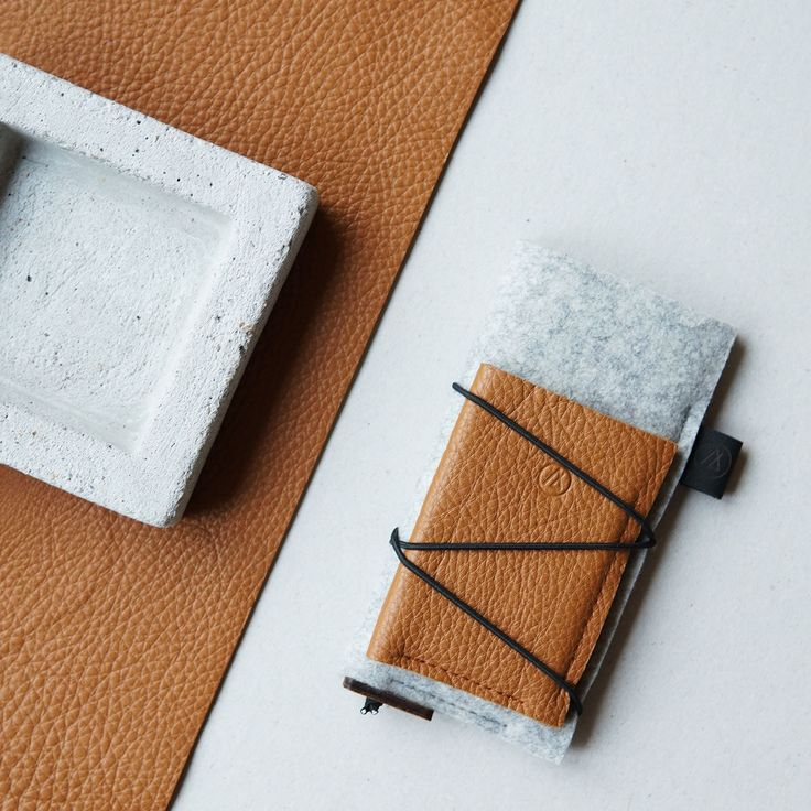 The new, highly functional KORD collection | iPhone case and slim card wallet set | premium Italian leather & 100% natural wool felt