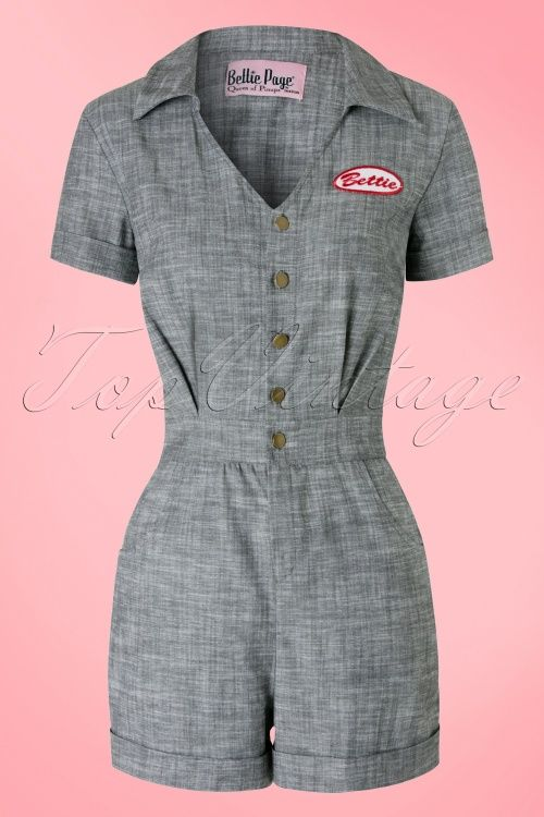 Bettie Page Clothing Pit Stop Grey Playsuit 132 15 17273 20160217 0006W
