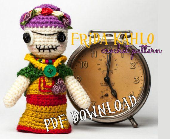 "Crochet PATTERN - worry doll ""zombie Frida Kahlo"" tutorial pdf, intermediate crocheter, amigurumi, Muñeca quitapena, instant pattern crochet"