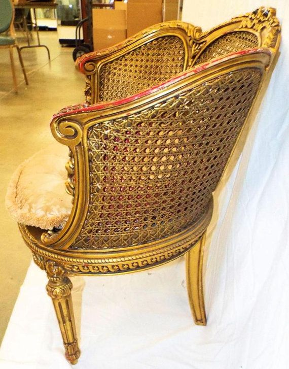 French Louis XVI style Cane Gilt Arm Chair Local Pick up only