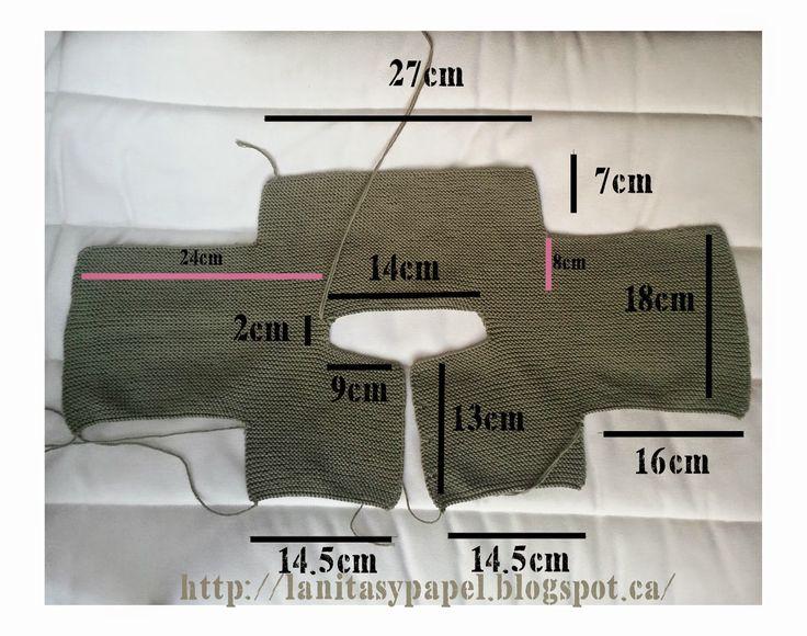 http://lanitasypapel.blogspot.ca/  free knitting pattern baby jacket one piece patron gratis chaqueta/ torerita / ramera punto bobo de una pieza para bebe  talla de 3 a 6 meses tejer /calceta