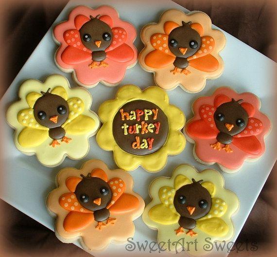 Thanksgiving cookies  turkey cookies  1 dozen by SweetArtSweets