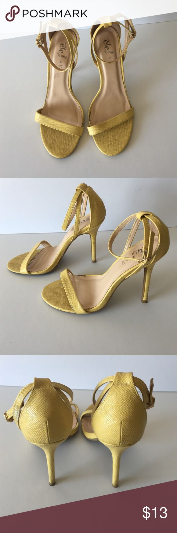 Rue 21 Yellow Heel Muted yellow heeled sandals by Rue 21. Size 6/7 Small. Heel is 4 inch. Has some wear on ankle straps as shown in photos. Still a very nice shoe 👣 Rue 21 Shoes Sandals