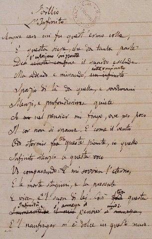Manuscrito Giacomo Leopardi.