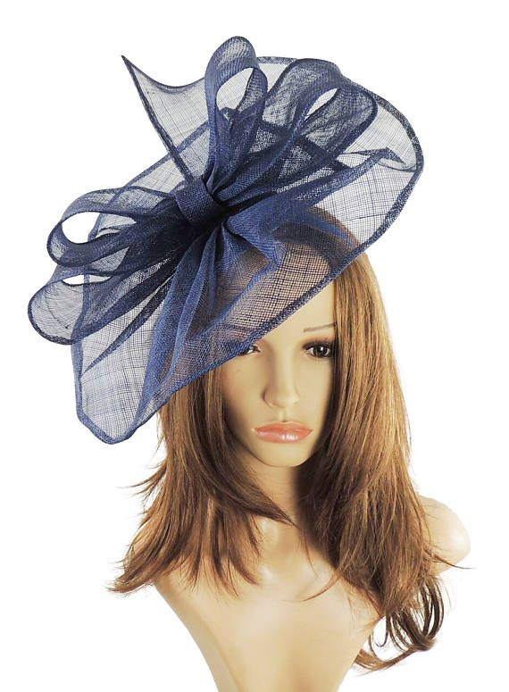 Commodore Navy Blue Fascinator Hat for Weddings Races and