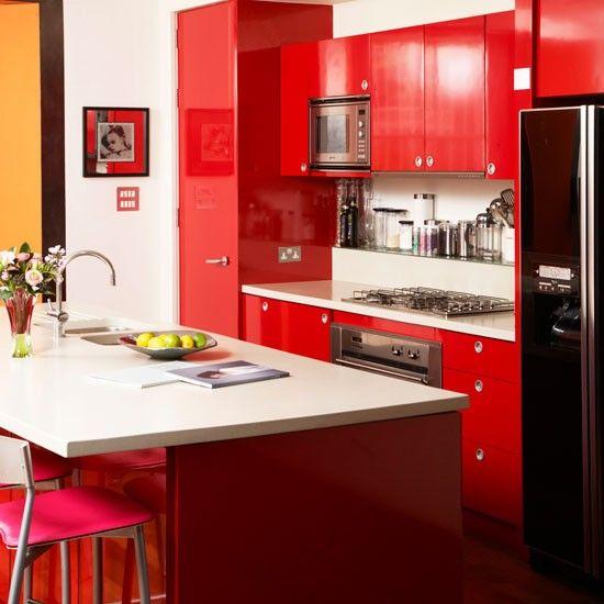 17 mejores ideas sobre gabinetes de cocina de color rojo en ...