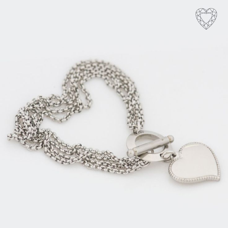 ZB011 - Triple belcher link  bracelet with heart pendent