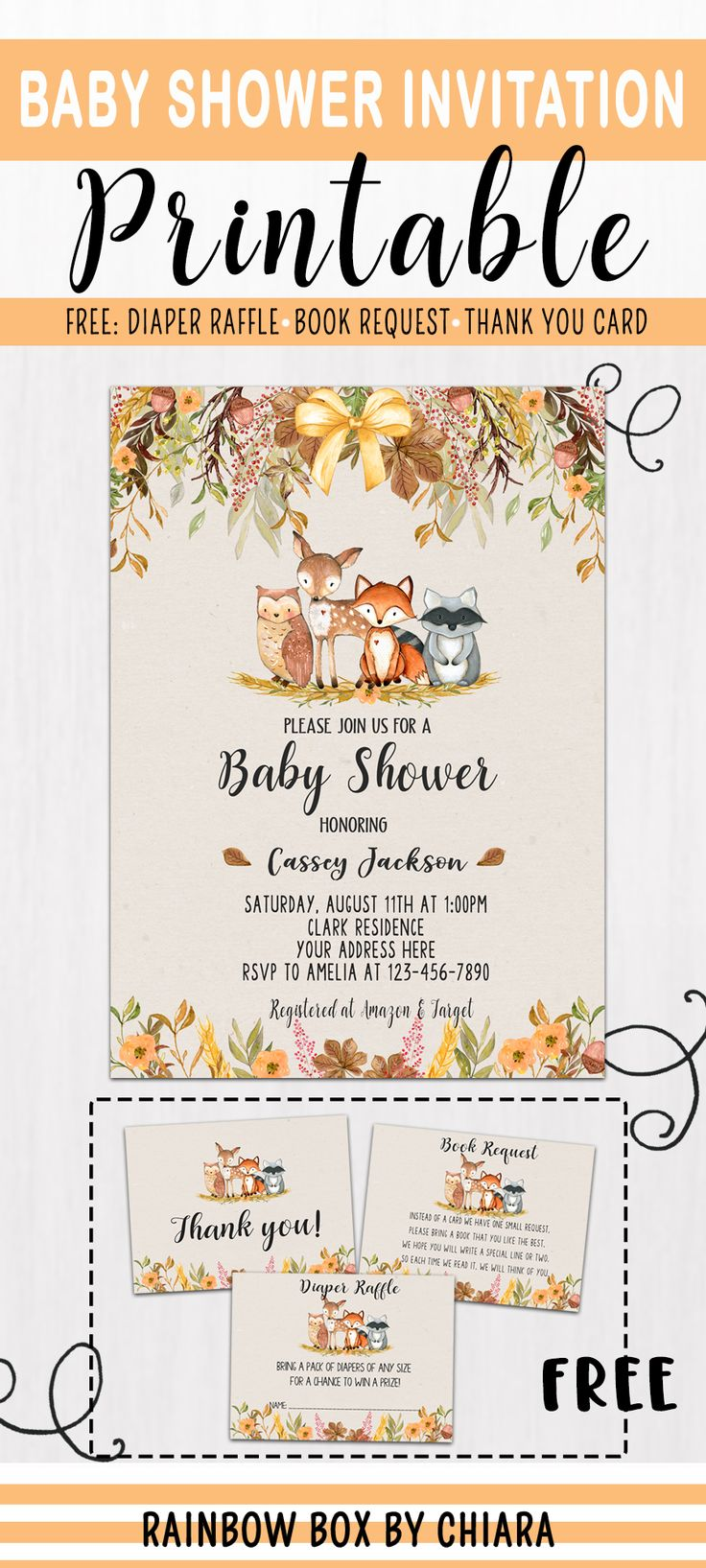 Woodland Baby Shower Invitation, Woodland Animals, Woodland Theme Invites, Autumn Baby Shower Invita