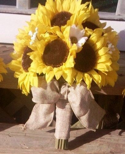 This may be the one but I wouldn't need all 16 - Talk to seller, she offers custom orders :16 piece Sunflower Wedding Set, Sunflower Bouquet, Burlap Bouquet, Yellow Bouquet, Rustic Bouquet, Rustic wedding, Sunflower wedding