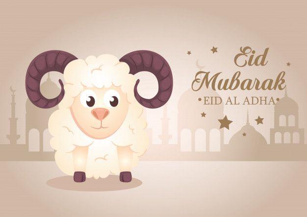 Celebration Of Muslim Community Festival Eid Al Adha Card With Sacrificial Sheep And Silhouette Arabia City Eid Al Adha Greetings Adha Card Happy Eid Al Adha