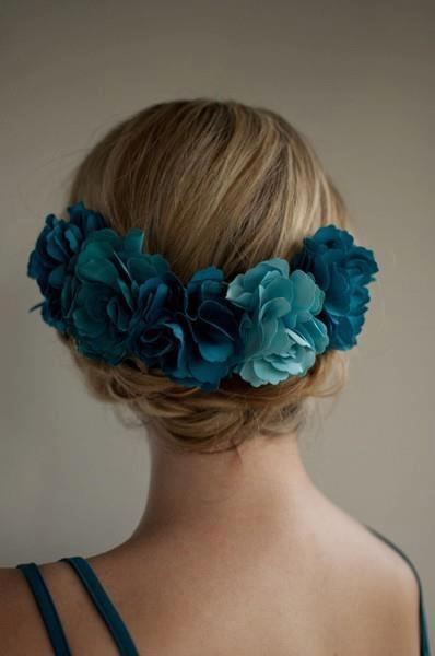 flowers. hair. woman.