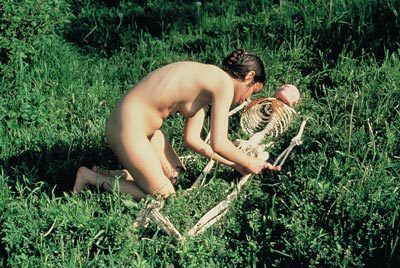 Ana Mendieta  About giving life, 1975  Photograph, 33.65x50.8cm  Documentation of performance,  Iowa 1975