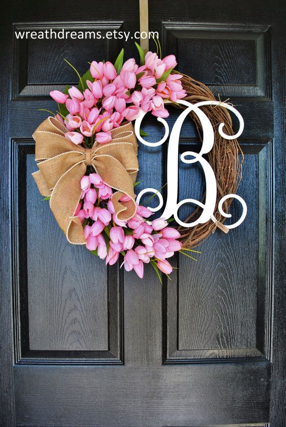 Pink Mini Tulips Monogram Grapevine Wreath with by WreathDreams