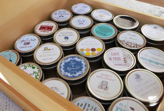 Wedding Favors Candle, Custom Wedding Favor, Personalized Wedding Favor, Tin, Natural Soy,  by Veris SAMPLE on Etsy, $0.75