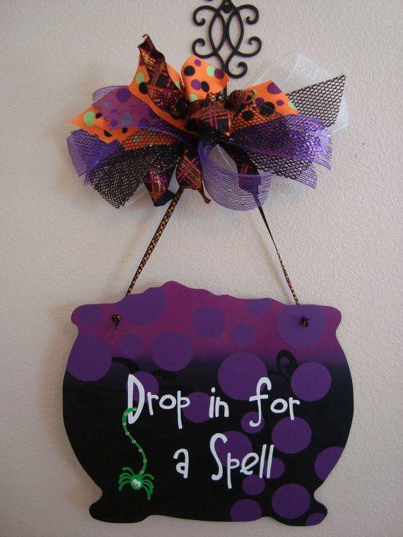 Halloween Door Hanger/ Witches Cauldron by thepaisleypetalvegas, $35.00