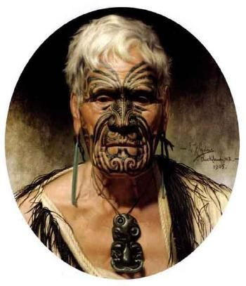 """Te Aho, noted Waikato warrior"" 1905 Charles Frederick Goldie (1870 - 1947)"