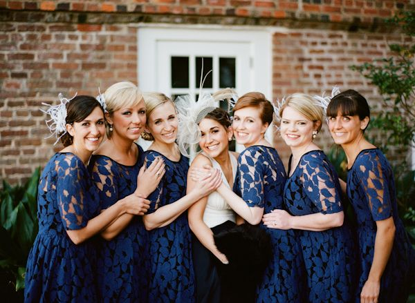 gorgeous navy lace bridesmaid dresses | Nathan Westerfield