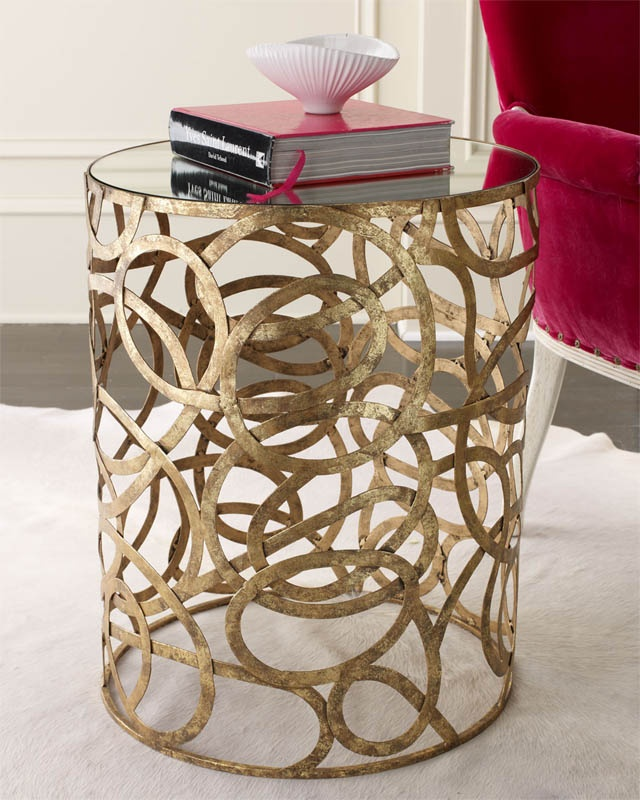 Neiman Marcus side table with a Jonathan Adler bowl on top.  Neiman Marcus has the best furniture!