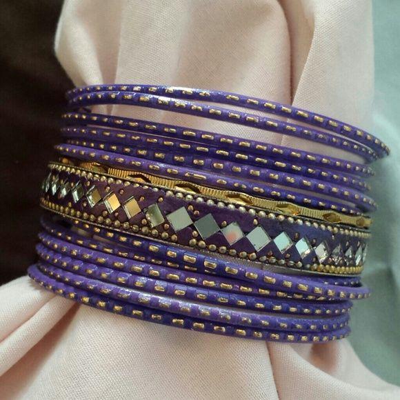 Amrita Singh purple bangle set Set of 14 bangle bracelets Amrita Singh Jewelry