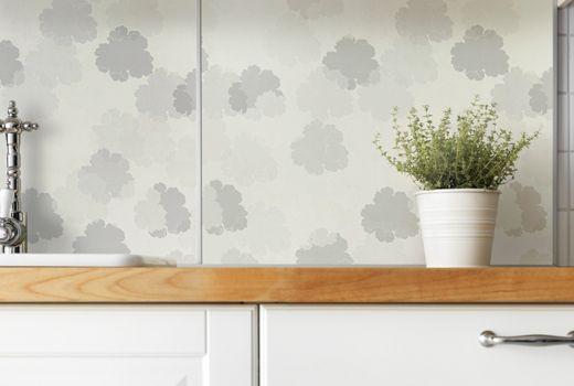 IKEA Wandpaneele Küche, z. B. FASTBO Wandpaneel doppelseitig/Blume weiß