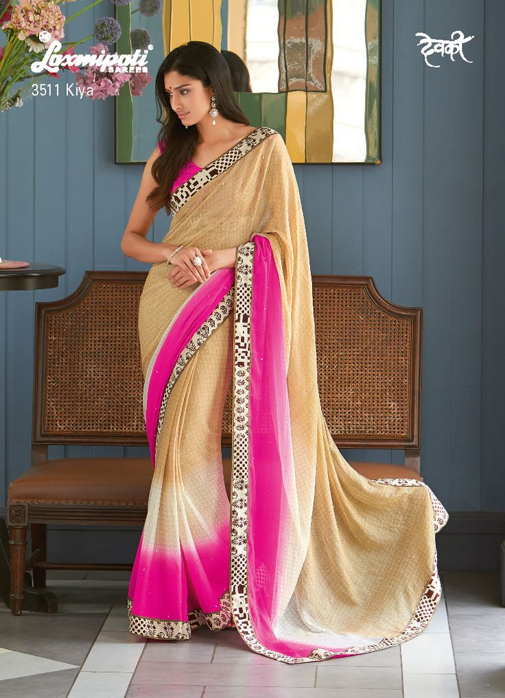 The glamorous pink,off-white and chiku color pedding saree with abstract print will become absolute stunner for all artistic soul.