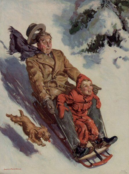Sledding by Norman Rockwell... Gotta love the difference in their faces, love it!