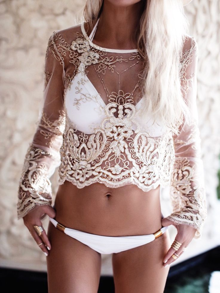 Sheer Lace long sleeve crop with white #bikini. Boho beach summer fun hippy bohemian chic