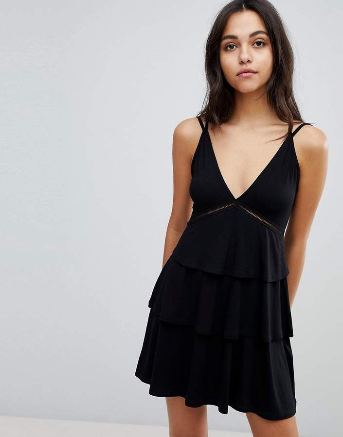 d30197a468fc Asos Strappy Mini Sundress with Tier and Ladder Trim