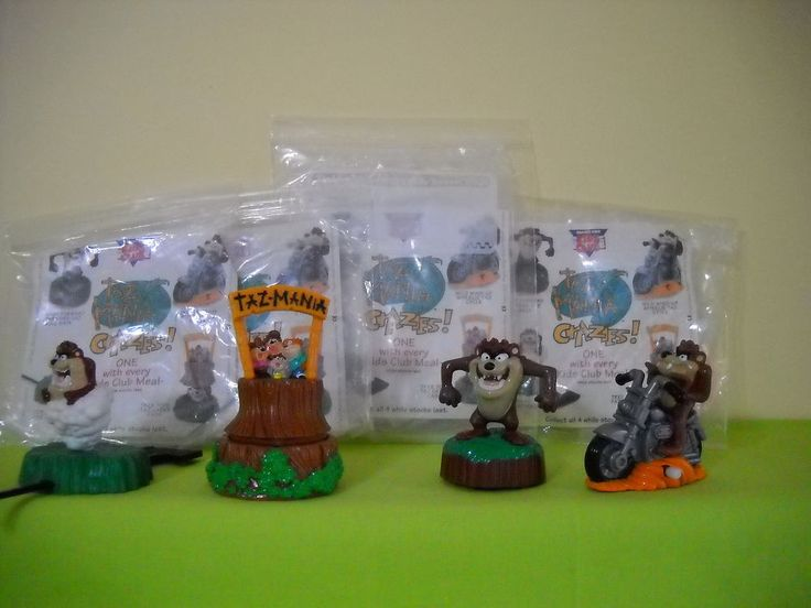 FOREIGN BURGER KING UK 1993 TAZ MANIA CRAZIES COMPLETE SET OF 4 + BAGS  | eBay