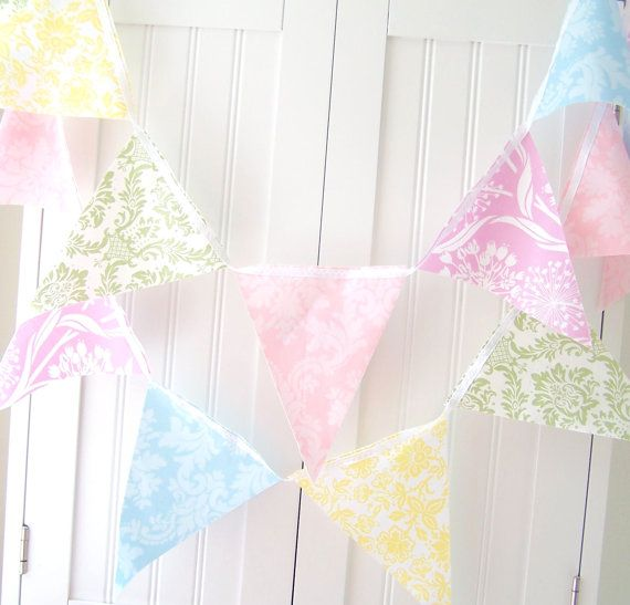Pastel Purple Pink Green Blue Timber Wood Look: Pastel Banner, Bunting, Fabric Flags, Shabby Chic Wedding