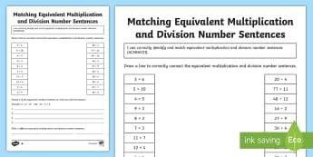 Matching Equivalent Multiplication and Division Number Sentences KS2 Differentiated Activity Sheets - inverse, multiply, commutative, divide, related facts, worksheets