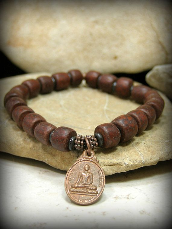 Mens Bracelet Mala Yoga Wood Bead Jewelry Stretch Fashion Buddha Pinterest