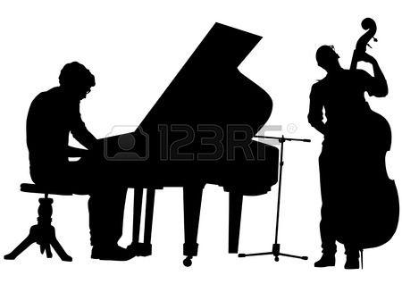 tekening pianist en bas op het podium Silhouetten op witte achtergrond Stockfoto
