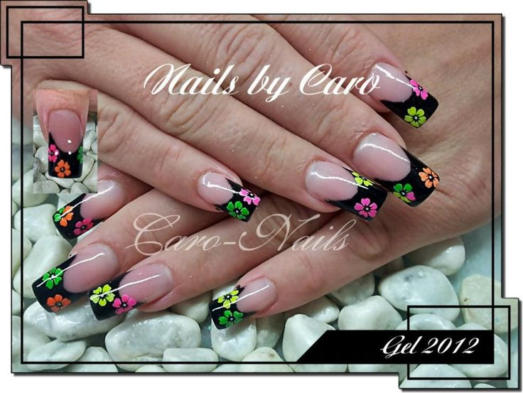 87 best french manicure nail art design ideas images on black french tip nail art with neon decal flowers prinsesfo Image collections