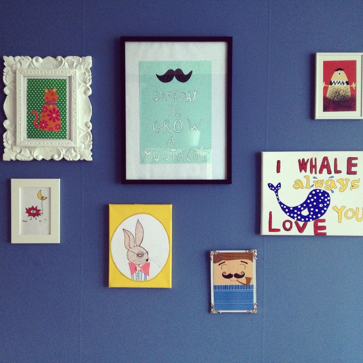 My baby boys picture wall . DIY