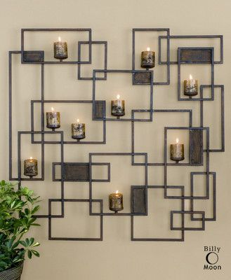 Large Modern Candle Wall Sconce 9 Holders Metal Contemporary Brown Finish Decor