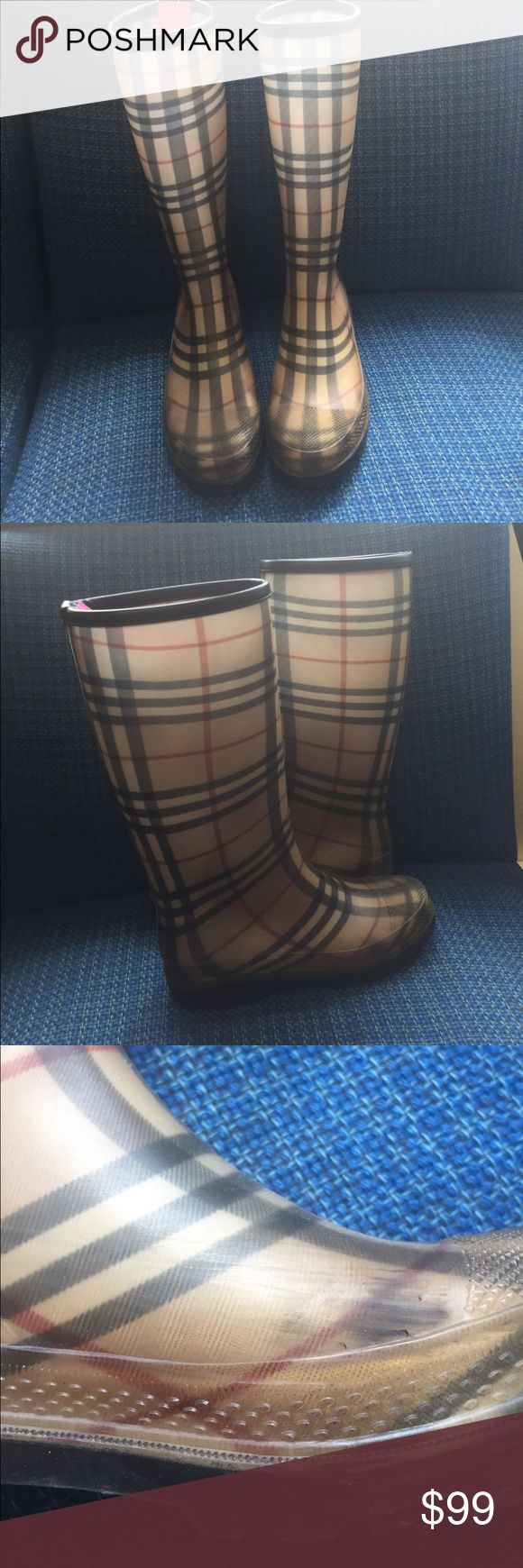 Burberry plaid rain boots size 8 Burberry plaid rain boots size 8 scratches on the inside of both see pictures Burberry Shoes Winter & Rain Boots