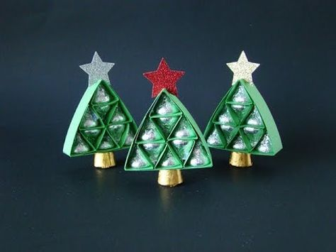 Hershey's Christmas Tree Simplified | Video Tutorial, Hershey's Kisses, Rolos, Simply Scored, Medium Star Punch, Gold Glimmer Paper, Favors, Handmade Gift,  Stampin' Up, Qbee's Quest, Brenda Quintana