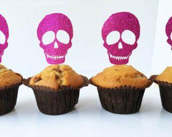 Glitter Toppers torta teschio / Halloween Cupcake Toppers / Pink Skulls / Halloween Decor / scheletro torta decorazioni / Spooky partito Decor / 6