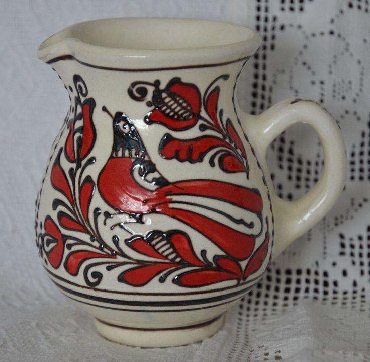 Szekely Transylvanian KOROND Hungarian Folk Art Pottery, Pitcher/Creamer Red Bird