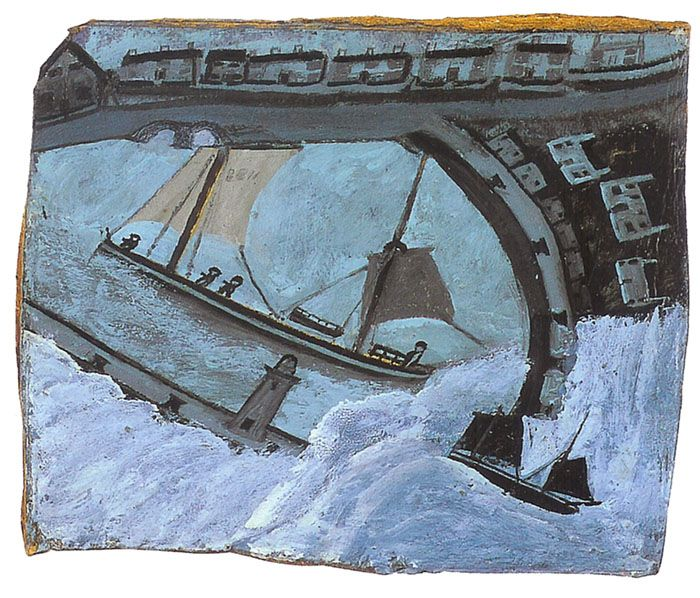 Alfred Wallis was a Cornish fisherman and artist. He painted his seascapes from memory, in large part because the world of sail he knew was being replaced by steamships. Having little money, Wallis improvised with materials, mostly painting on cardboard ripped from packing boxes, he also tore the cardboard to shapes that enhanced the shape of the paintings.