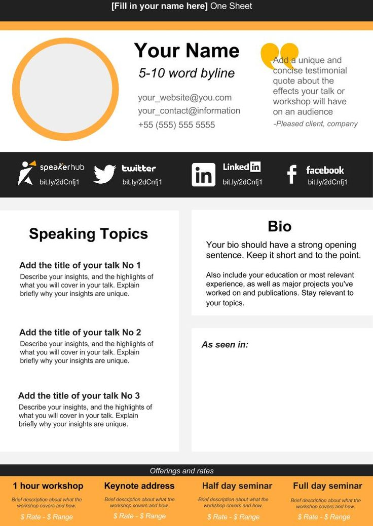 39 best Speaker one sheets images on Pinterest Music speakers - biography template microsoft word