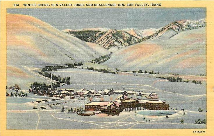 Sun Valley Idaho ID 1938 Sun Valley Lodge Challenger Inn Vintage Linen Postcard