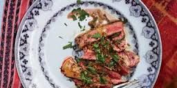 Image result for tuna steak au poivre with cognac sauce
